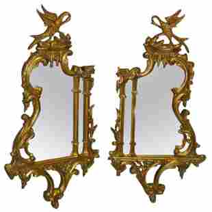 Pair of Georgian Style Mirrors with Phoenix Birds .