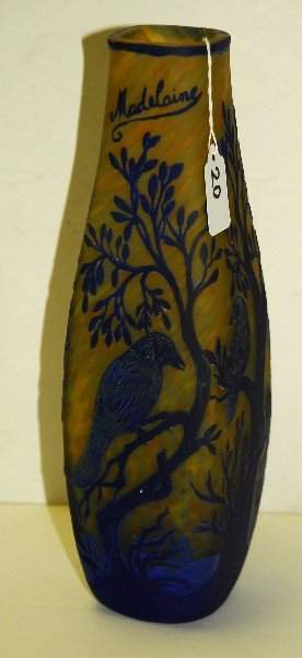 Signed cameo art glass vase with birds in trees in