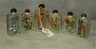 6 Chinese antique reverse painted glass snuff bottles.