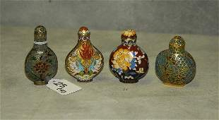 4 antique Chinese snuff bottles 2 enamel and 2 plique a