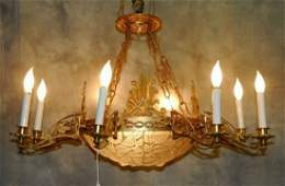 "Art Deco ""Feuilles de Charmes"" and bronze  chadelier."