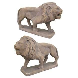 Pair of Cast Stone Garden Lions,