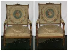 Pair of 19th c Louis XVI Tapestry Upholstered Fauteuils