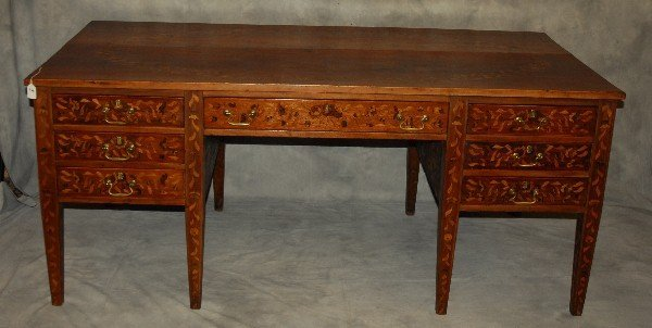 19th C Dutch marquetry inlaid desk finished all around