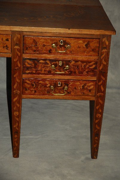 19th C Dutch marquetry inlaid desk finished all around - 2