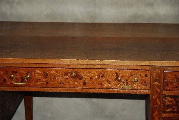 19th C Dutch marquetry inlaid desk finished all around - 3