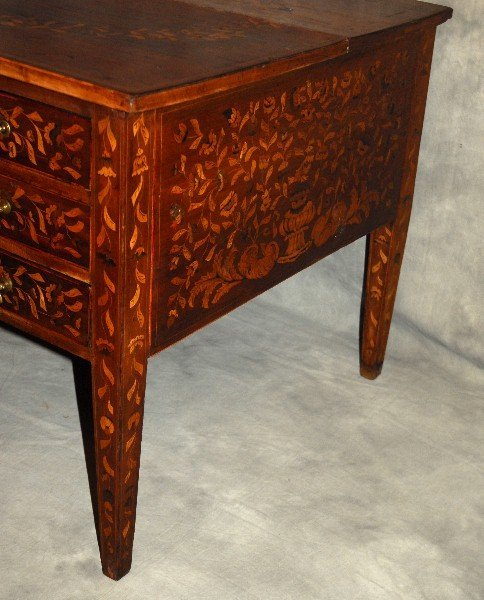 19th C Dutch marquetry inlaid desk finished all around - 4
