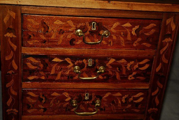 19th C Dutch marquetry inlaid desk finished all around - 6