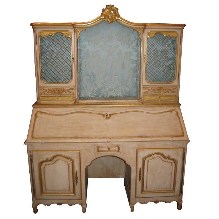 18th C Louis XV painted 2 part secretary desk. H:78""