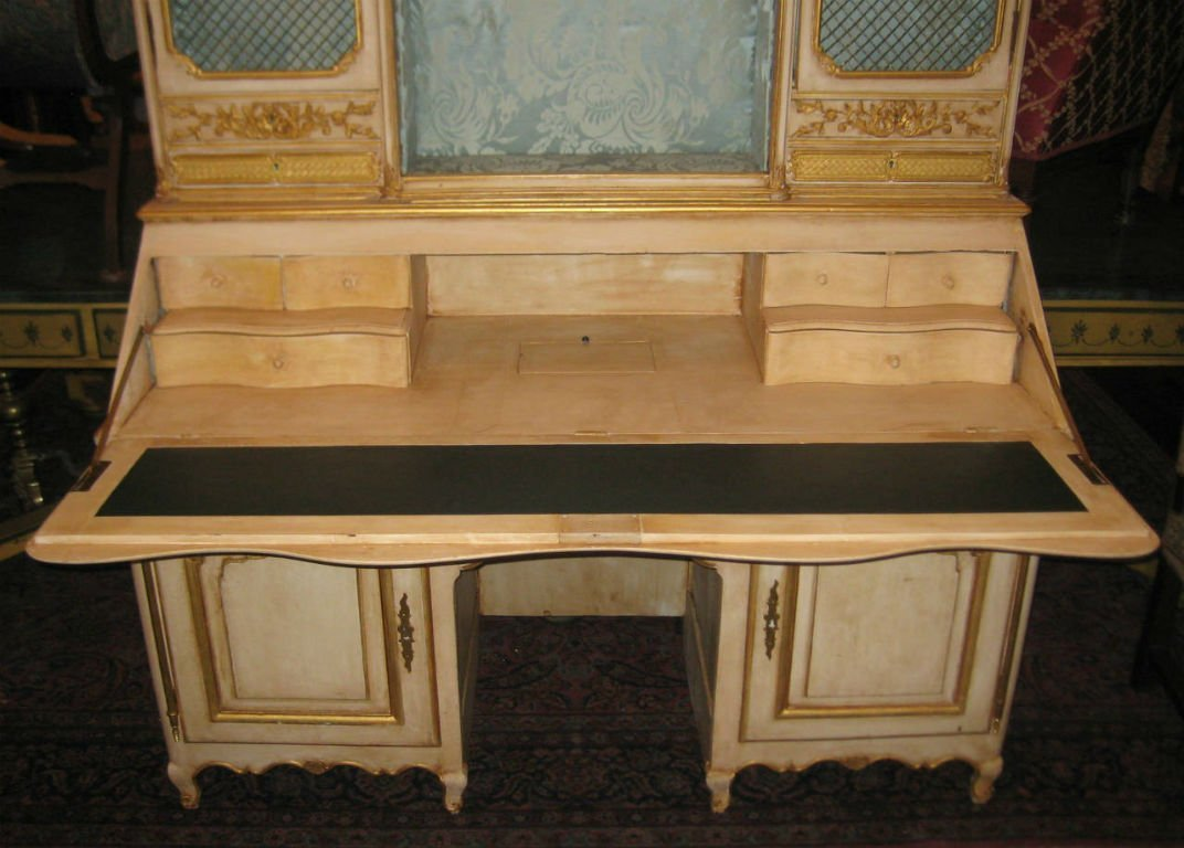 "18th C Louis XV painted 2 part secretary desk. H:78"" - 2"