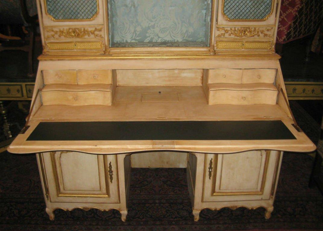"""18th C Louis XV painted 2 part secretary desk. H:78"""" - 2"""
