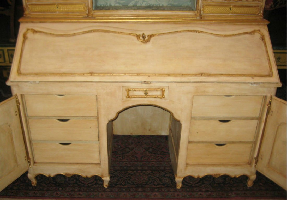 """18th C Louis XV painted 2 part secretary desk. H:78"""" - 3"""