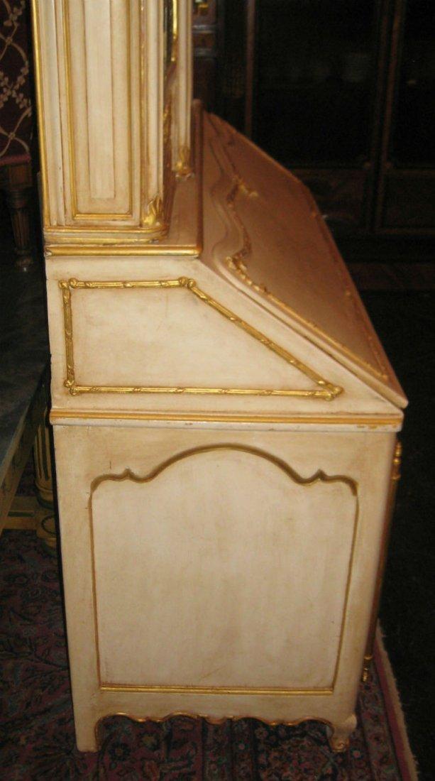 """18th C Louis XV painted 2 part secretary desk. H:78"""" - 4"""