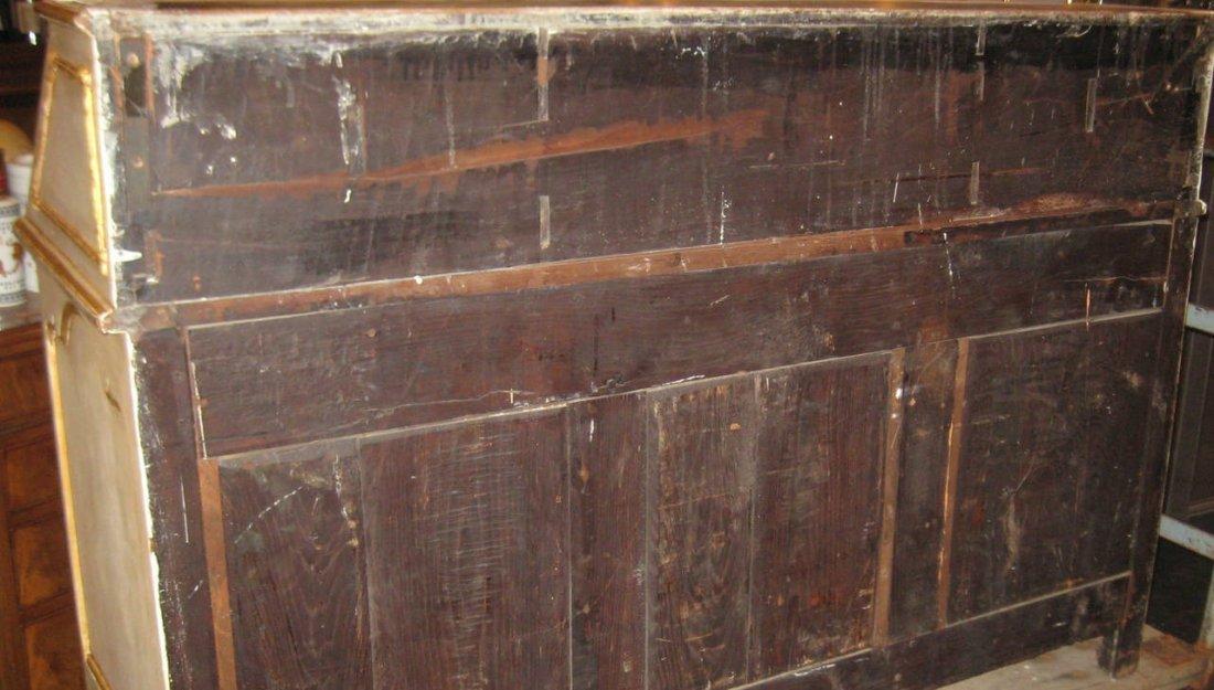 """18th C Louis XV painted 2 part secretary desk. H:78"""" - 8"""