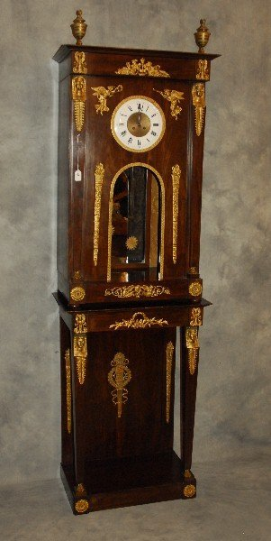 19th C French Empire gilt bronze mounted clock on