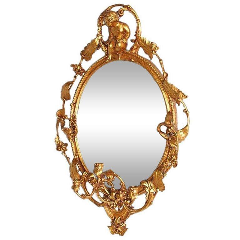 "19th C Continental gilt-wood girondole mirror. H:45"""