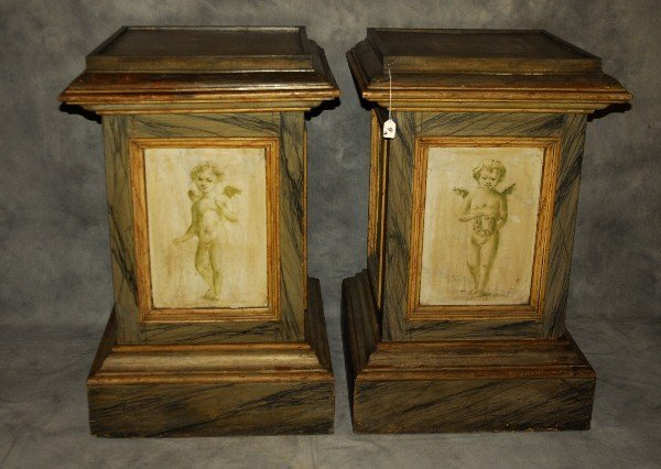 Pair 19th C Continental faux marble painted wood