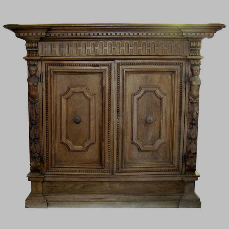 """19th C Italian carved two-door cabinet. H:48"""" W:53"""""""