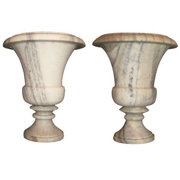 Pair antique grey veined marble campana-form urns.