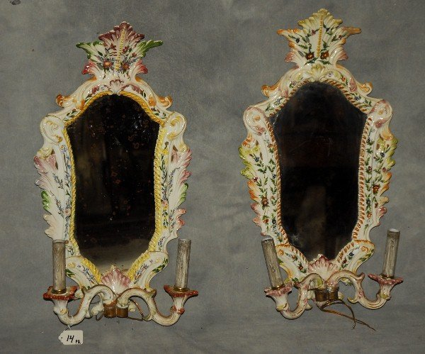 """Pair antique French faience girondole mirrors. H:22"""""""
