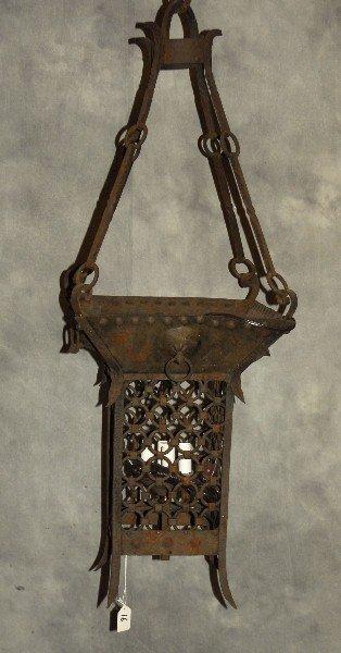 "Continental iron hanging lantern. H:37"" W:13"" D:13"""