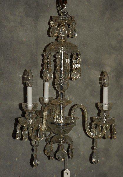 "Baccarat style 3 light crystal chandelier. H:25"" D:18"""
