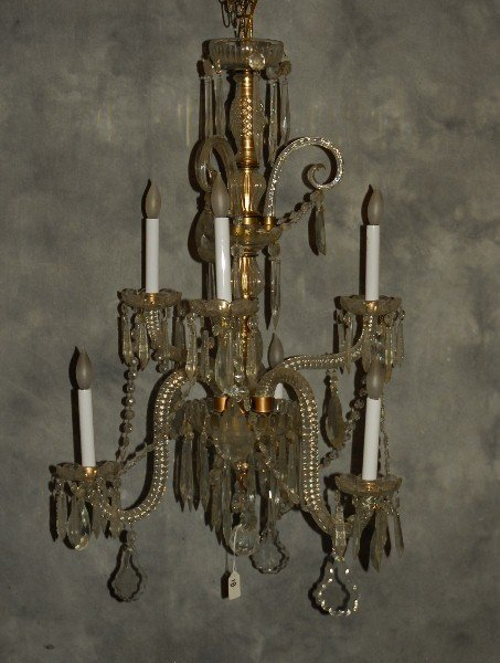 "Baccarat style 6 light crystal chandelier. H:32"" D:21"""