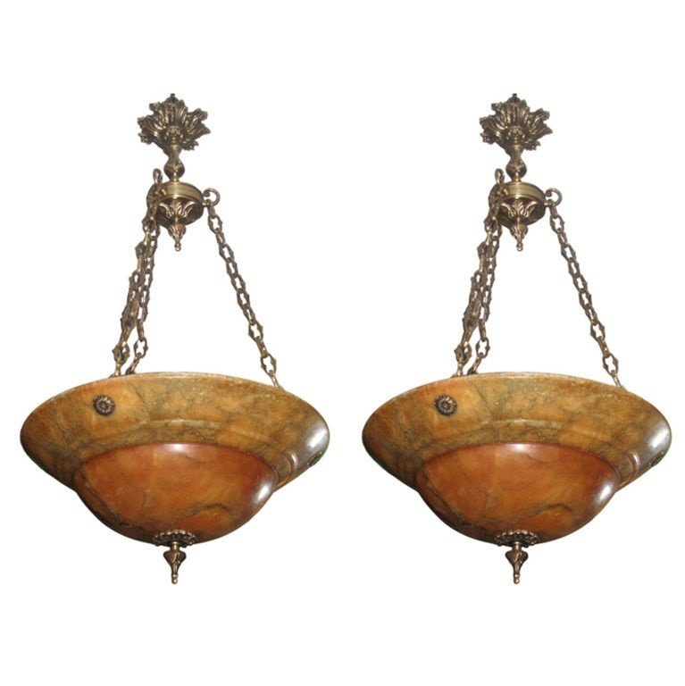 """Pair of alabaster and bronze chandeliers. H:35"""" D:19.5"""""""