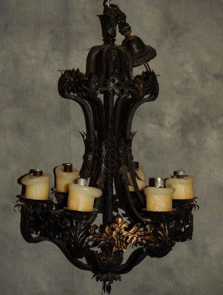 """Continental iron six light chandelier. H:35"""" D:23"""""""