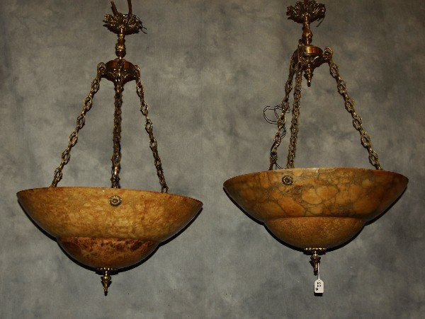 """Pair of large alabaster and bronze chandeliers . H:35"""""""