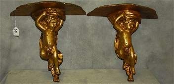 """Pair antique giltwood figural wall brackets. H:14"""""""
