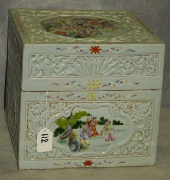 Unusual and large Chinese 19th C porcelain square