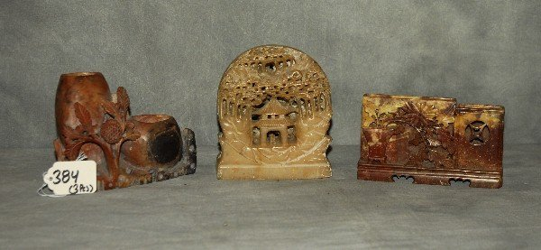 3 antique Chinese hardstone pieces . Largest H:4.75""