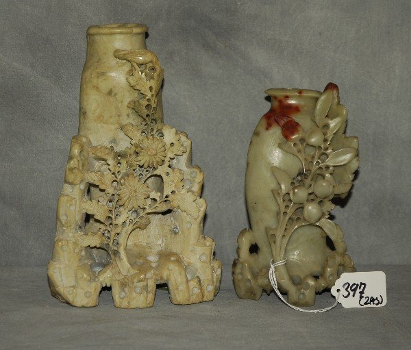 Two Chinese carved hardstone pieces. H:8.5""