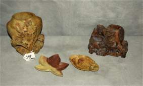 """Four Chinese carved hardstone pieces. Largest H:6"""""""