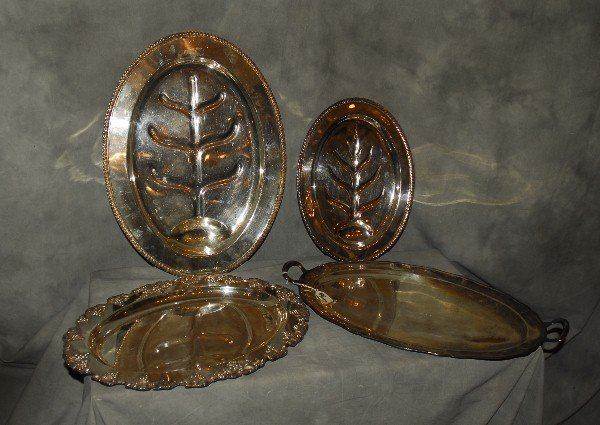 Four silverplate pieces including 2 well-n-tree, a two