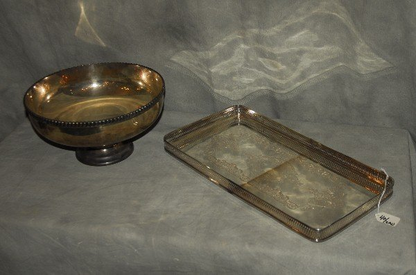 Two silverplate pieces, one gallery tray and one footed