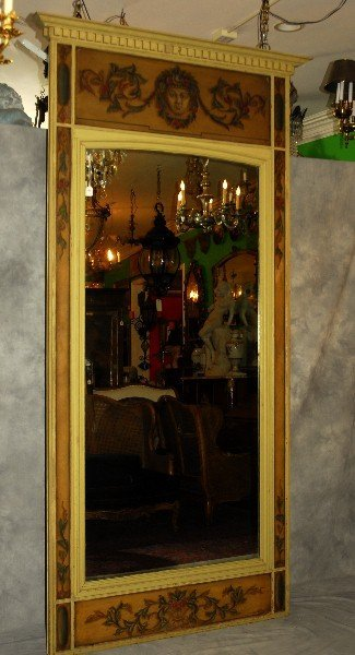 """Large painted trumeau mirror. H:109"""" W:53""""."""