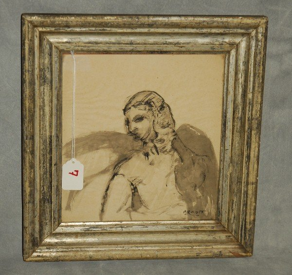 Early pen and ink drawing of an angel by Probst.