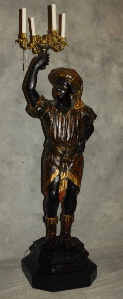 Large 18th C blackamoor torchere later electrified.