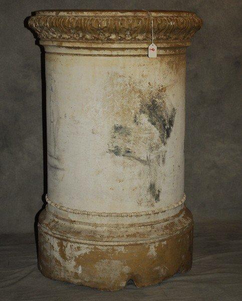 """Large antique terracotta pedestal . H:37"""" D:28""""."""