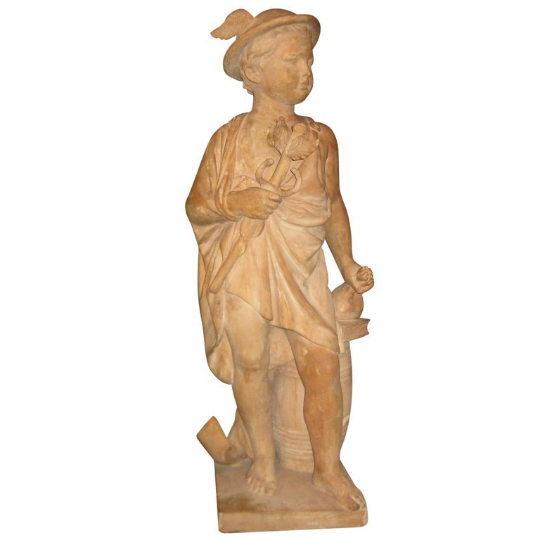 Large antique terracotta figure of a young Mercury.