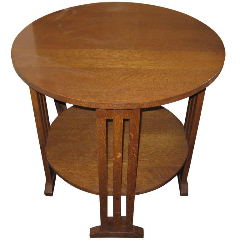 "Signed Stickley side table. H:28.5"" D:29""."