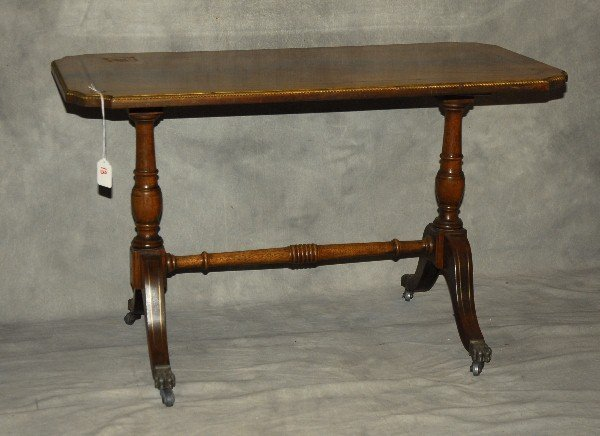 19th C Sheraton style mahogany inlaid brass banded low