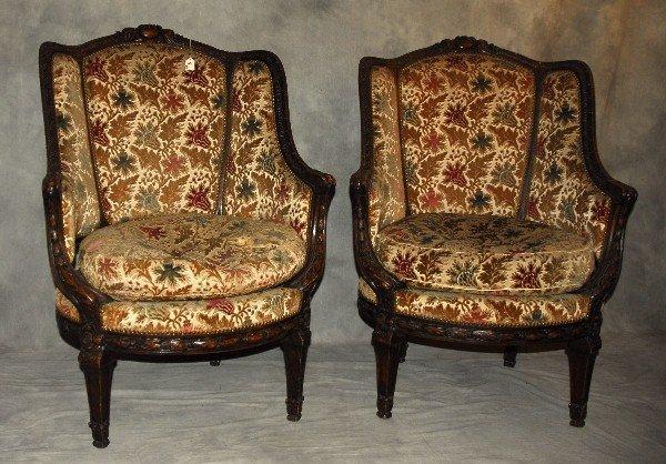 Pair 19th C Louis XVI carved walnut and cut velvet