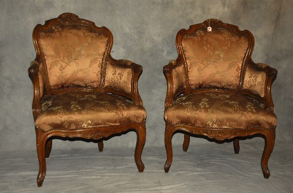 """Pair 19th c Louis XV carved walnut bergeres. H:37.5"""""""