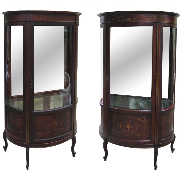 Pair of signed Horner inlaid mahogany curio cabinets.