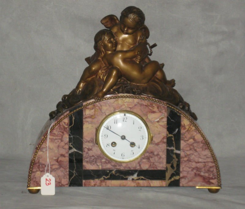 """Figural bronze and marble mantle clock. H:14.5"""" W:15.5"""""""