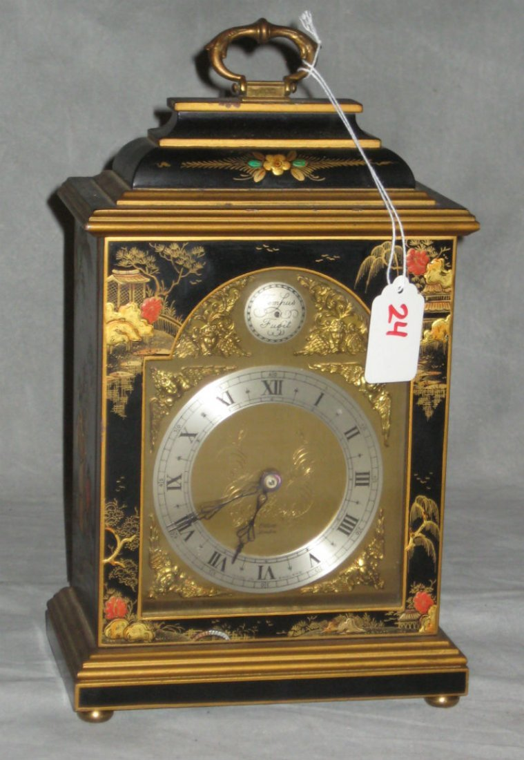"""Chinoserie decorated bracket clock. H:11"""" W:6.75"""" D:4""""."""