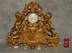 Very Large 19th C gilt-bronze figural mantel clock.